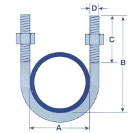 6MM x 28MM Zinc Plated U Bolt With 2 Hex Nuts - Clamp Pipe ...
